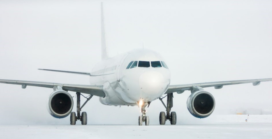 airplane in the snow